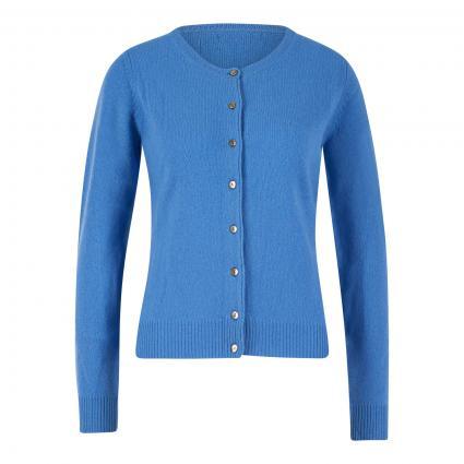 Taillierte Strickjacke aus Wolle blau (sky blue) | XXL