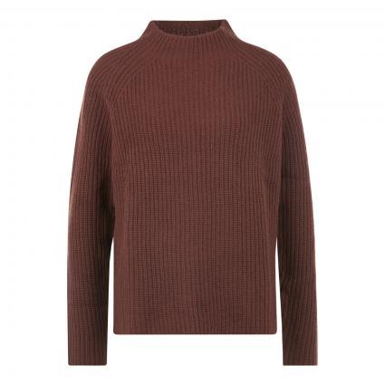 Strickpullover aus reiner Wolle mit Stehkragen braun (hazelnut) | L