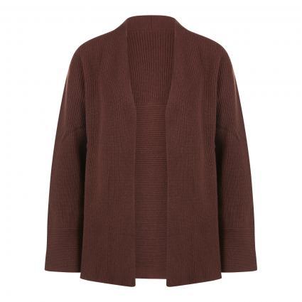Offene Strickjacke aus Wolle braun (hazelnut) | S