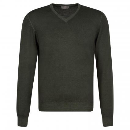 Pullover mit V-Ausschnitt oliv (628 Oliv) | 58