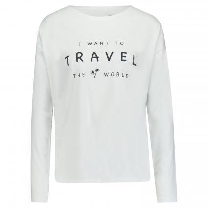 T-Shirt mit Schriftzug weiss (100 white) | M