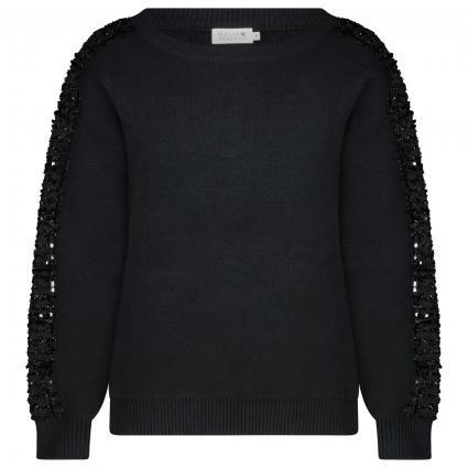Pullover mit Pailletten Besatz  schwarz (BLACK) | M