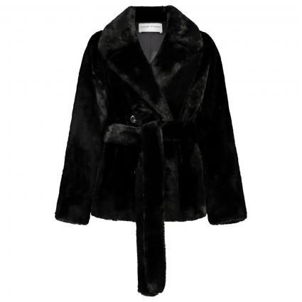 Jacke aus Kunstpelz mit Gürtel schwarz (89900 BLACK SOLID) | 34
