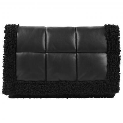 Gesteppte Tasche mit künstlichem Schaffell schwarz (89000 BLACK)   0