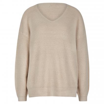 Pullover mit V-Ausschnitt beige (OATMEAL) | XS/S