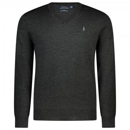 Slim-Fit Pullover mit V-Ausschnitt  grau (009 DARK GRANITE HEA) | L
