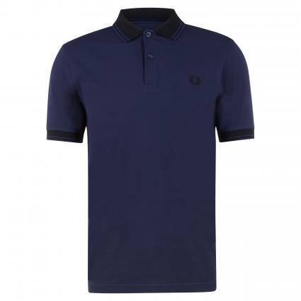 Poloshirt mit Label-Detail marine (584 carbon blue) | XXL