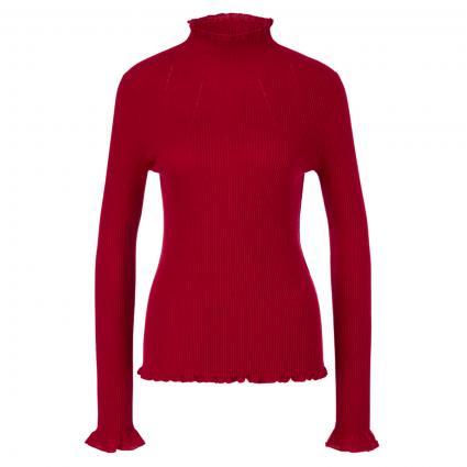 Strickpullover mit Volantabschluss rot (288 burgundy) | 38