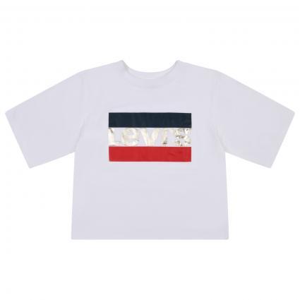 T-Shirt mit Label Print  weiss (W61 WHITE RED)   176