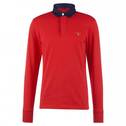 Sweatshirt mit Polokragen rot (620 Bright Red) | XXL