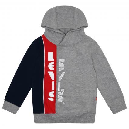 Sweatshirt mit Color-Blocking mit Label-Print  grau (078 GREY HEATHER) | 104