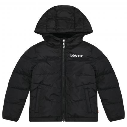 Jacke mit Kapuze und Label-Stickerei  schwarz (023 BLACK) | 110