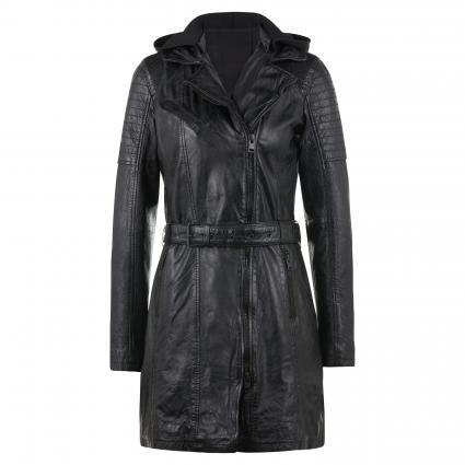 Lederjacke mit Kapuze und Gürtel schwarz (BLACK)   M