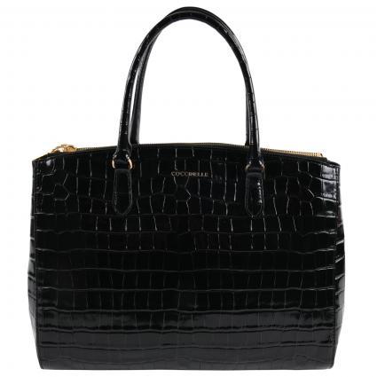 Tasche im Leder mit Kroko-Print  schwarz (001 NOIR) | 0