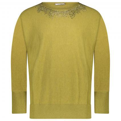 Pullover mit Steinchen Besatz  grün (25)   L