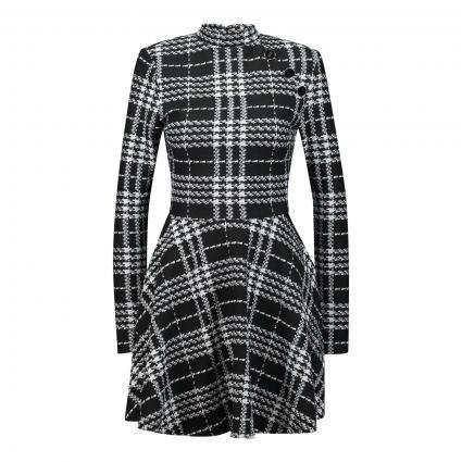 Jerseykleid mit ausgestelltem Rockteil in grafischem All-Over Muster schwarz (L990 BLACK WHITE CHE) | L