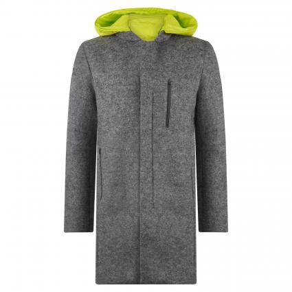 Jacke mit Kapuze in Filz-Optik und mit Neopren-Haptik grau (grey melange) | L