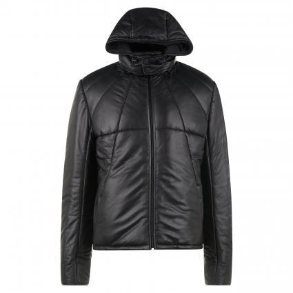 Wattierte Lederjacke mit abnehmbarer Kapuze schwarz (schwarz)   S