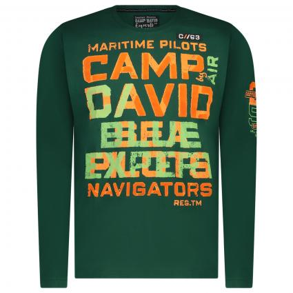 Langarm Shirt mit All-Over Label Elementen  grün (Green Sea) | L
