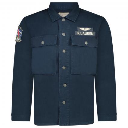 Sportliche Hemdjacke mit Label-Details  blau (001 NAVY MULTI)   L
