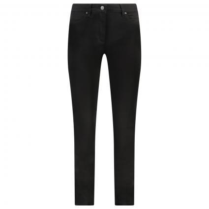 Jeans mit kurzen Beinen Strasssteine auf Gesäßtasche schwarz (089 black)   46