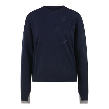Pullover mit Glitzer Details aus reinem Kaschmir blau (ENCRE ENCR) | L