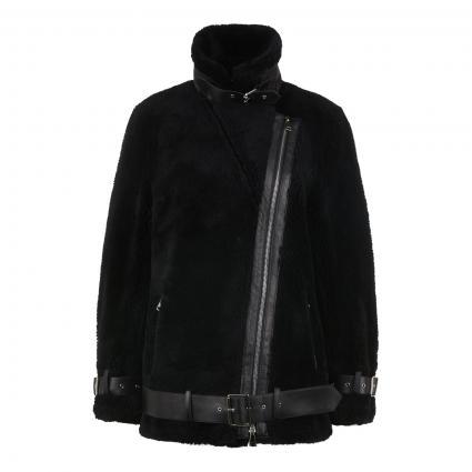 Jacke 'Collen' im Biker-Stil aus Schafswolle schwarz (89000 BLACK/BLACK) | 36