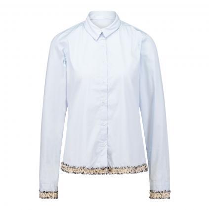 Bluse mit Zierborte blau (22+08 bleu/silber)   42