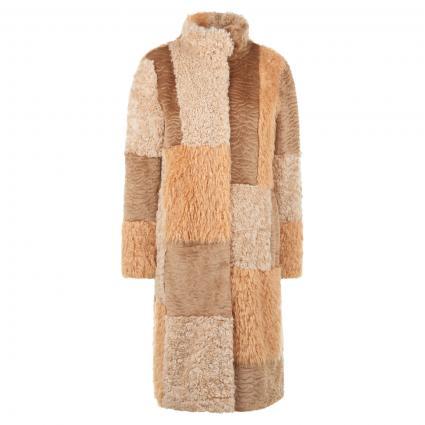 Mantel mit Stehkragen aus farbigem Fellmustermix beige (652 apricot beige)   38