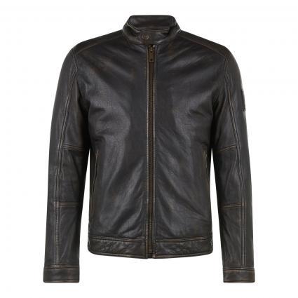 Wattierte Lederjacke 'Osco' im Biker-Stil braun (220 braun) | 48