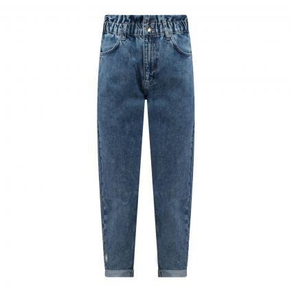 Tapered Jeans 'Paperbag' mit Elastikbund weiss (5279 MID BLUE SNOW) | 36