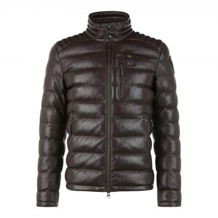 Wattierte Lederjacke mit sportlicher Quersteppung braun (370 brown) | XL