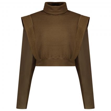 Gesteppter Big Shoulder Sweater braun (DARK BROWN) | 38
