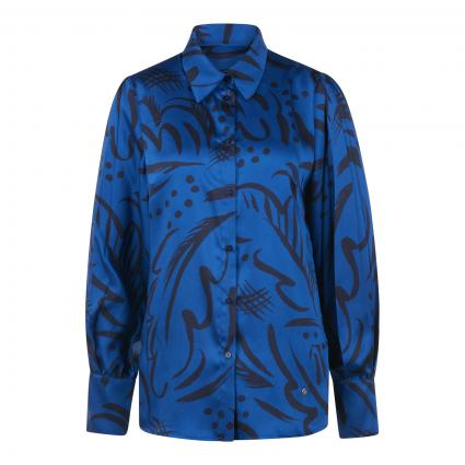 Bluse mit All-Over Muster marine (402 TRUE BLUE) | 36