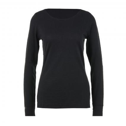 Langarmshirt mit Rundhalsausschnitt schwarz (110 black) | XS
