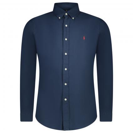 Slim-Fit Button-Down Hemd mit Label-Stickerei  blau (003 RL NAVY) | XXL