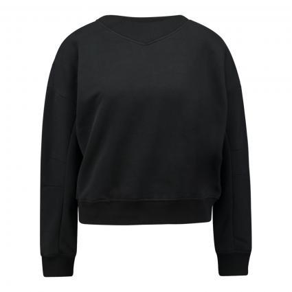 Sweatshirt mit Ripp-Einsatz schwarz (099 black) | XS