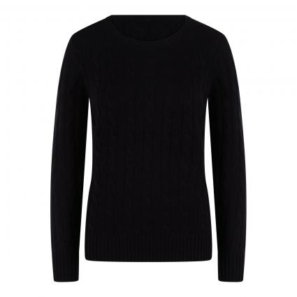 Cashmerepullover mit Zopf-Muster schwarz (schwarz) | XXL