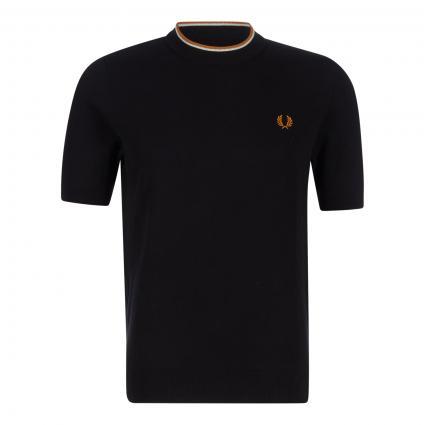 T-Shirt mit Logostickerei schwarz (102 black) | M