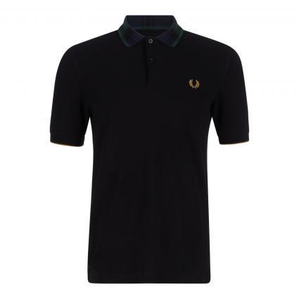 Poloshirt mit kariertem Kragen schwarz (102 black) | L