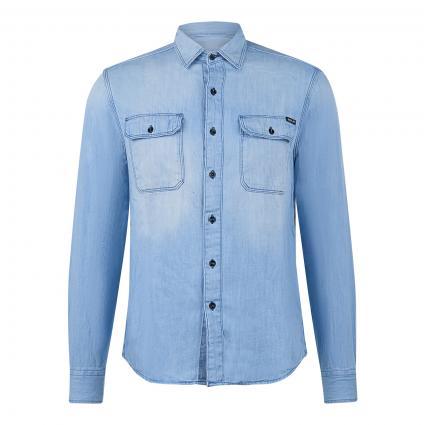 Jeanshemd mit aufgesetzten Einschubtaschen blau (010) | M