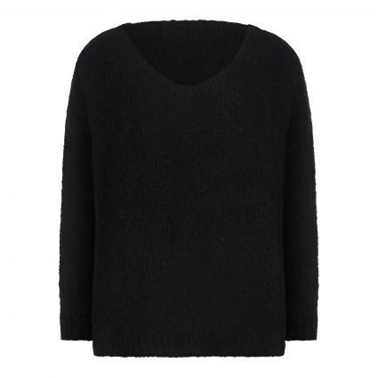Strickpullover mit V-Ausschnitt schwarz (099 black)   S