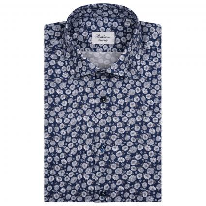 Hemd mit All-Over Muster  marine (141 marine) | 42