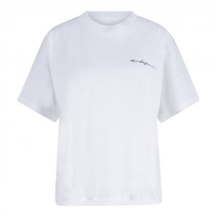 T-Shirt mit Logo-Stitching ecru (ECRU ECR01) | 38