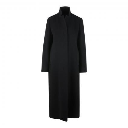 Langer Mantel aus Wolle-Mix schwarz (01 black) | 40