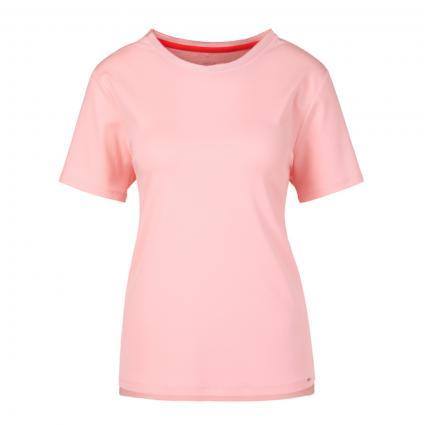T-Shirt mit Seidenbesatz am Ausschnitt rose (213 candy pink) | 42