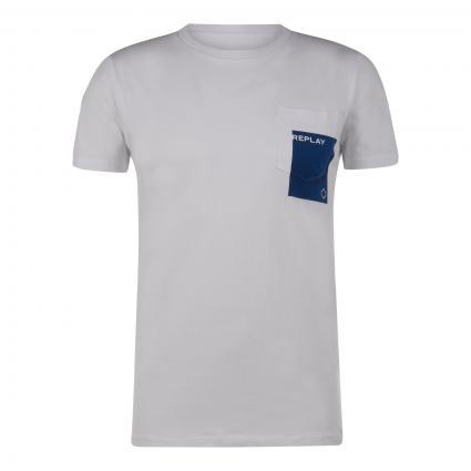 Printshirt mit Brusttasche weiss (001) | XL