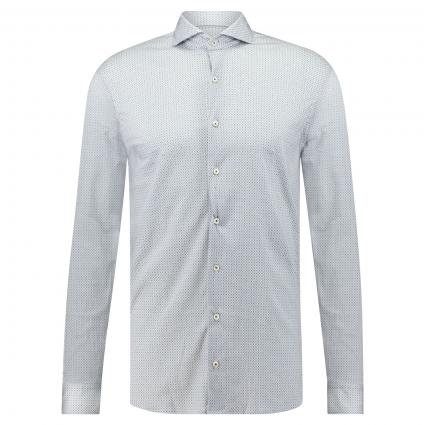 Slim-Fit Hemd aus softer Jerseyware mit All-Over Muster weiss (007) | L