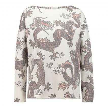 Sweatshirt mit All-Over Druck  ecru (120 ecru dragon) | M