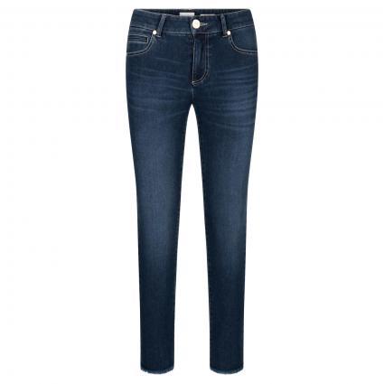 Slim-Fit Jeans 'Claire cropped' mit Fransendetails blau (858 moonlight blue) | 42